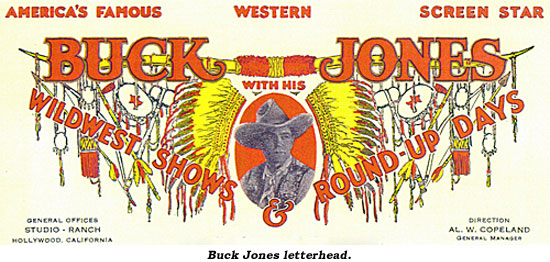 Buck Jones letterhead.