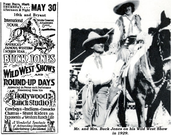 Ad for Buck Jones Wild West Shows and Round-Up Days. And..Mr. and Mrs. Buck Jones on his Wild West Show in 1929.