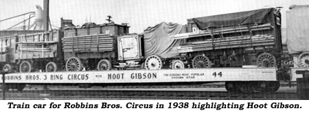 Train car for Robbins Bros. Circus in 1938 highlighting Hoot Gibson.