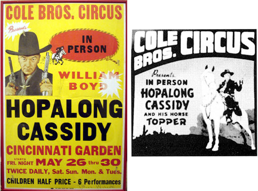 Cole Bros. Circus featuring Hopalong Cassidy. And newspaper ad for Cole Bros. Circus presenting Hopalong Cassidy.