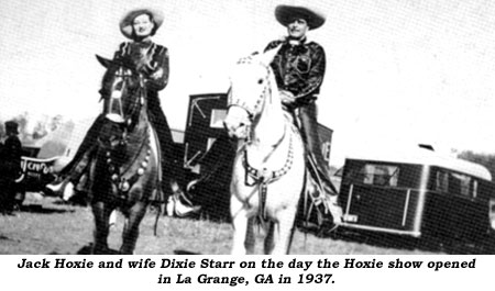 Jack Hoxie and wife Dixie Starr on the day the Hoxie show opened in La Grange, GA in 1937.