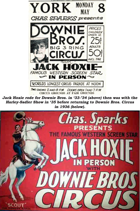 Jack Hoxie rode for Downie Bros. in '33-'34 (above) then was with the Harley-Sadler Show in '35 before returning to Downie Bros. Circus in 1936 (below).