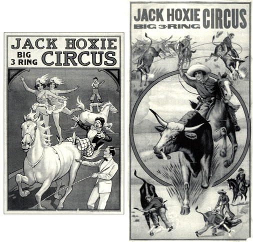 Two posters for Jack Hoxie Big 3 Ring Circus.