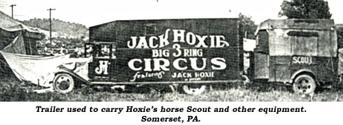 Trailer used to carry Hoxie's horse Scout and other equipment. Somerset, PA.