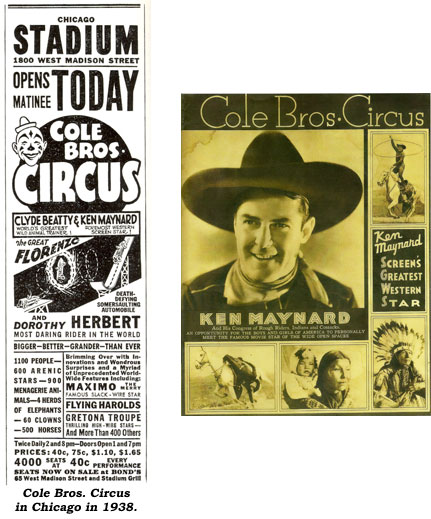 Ad for Cole Bros. Circus with Ken Maynard in Chicago in 1938. And...Cole Bros. Circus program featuring Ken Maynard.