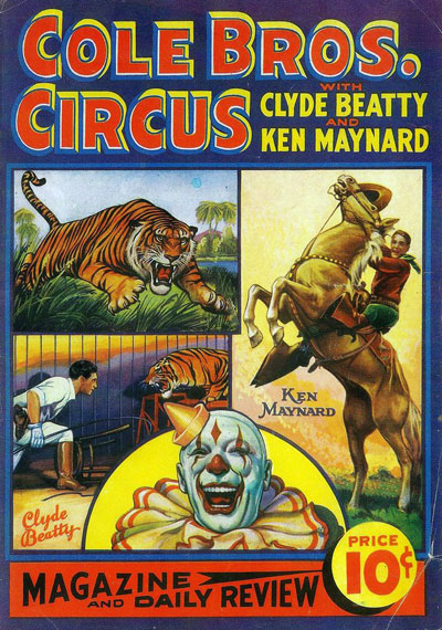 Poster for Cole Bros. Circus highlighting Clyde Beatty and Ken Maynard.