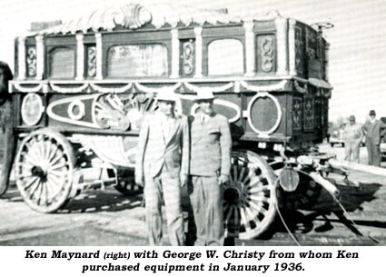 Ken Maynard (right) with George W. Christy from whom Ken purchased equipment in January 1936.