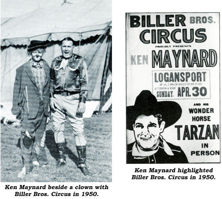 Ken Maynard beside a clown with Biller Bros. Circus in 1950. And...Ken Maynard highlighted Biller Bros. Circus in 1950 newspaper ad.