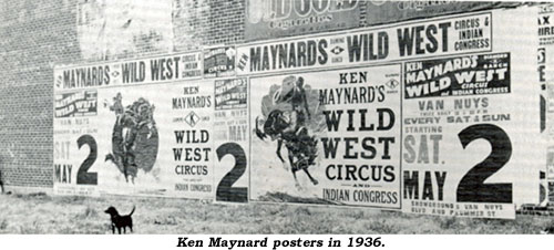Large Posters on wall of building for Ken Maynard's Wild West Circus and Indian Congress.
