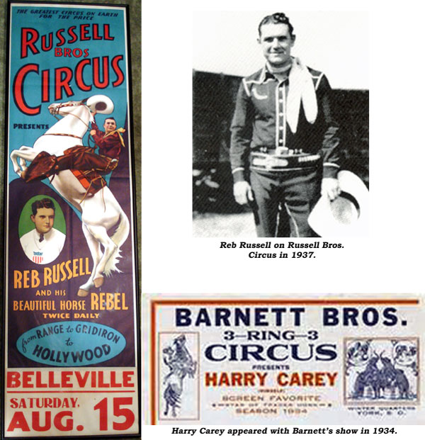 Reb Russell on Russell Bros. Circus in 1937. And..Post for Russell Bros. Circus. And..ad for Barnett Bros. Circus presenting Harry Carey in 1934.