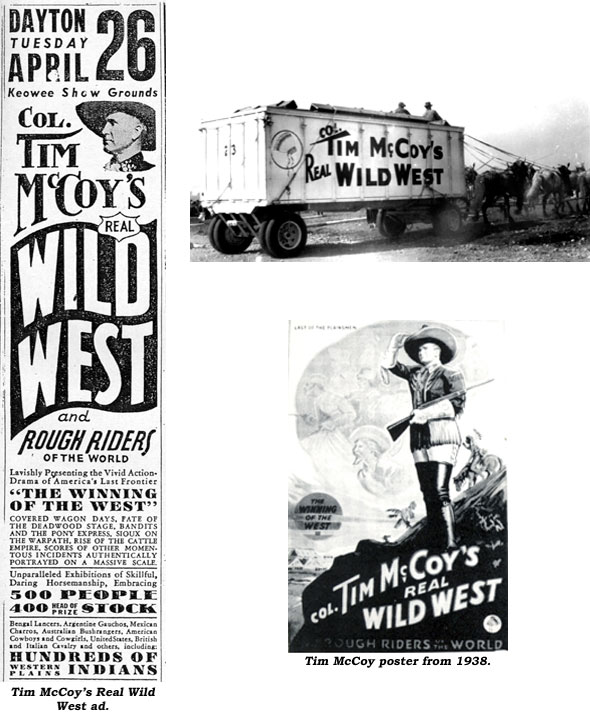 Wagon for Col. Tim McCoy's Real Wild West. And..Tim McCoy poster from 1938. And..newspaper ad for Col. Tim McCoy's Real Wild West and Rough Riders of the World.