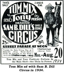 Tom Mix ad with Sam B. Dill Circus in 1934.