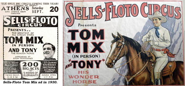 Sells-Floto Tom Mix ad in 1930 and a Sells-Floto Tom Mix poster.