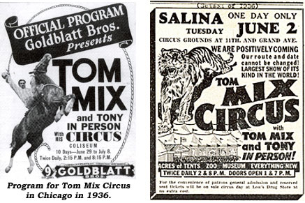 Program for Tom Mix Circus in Chicago in 1936. And a newspaper ad for Tom Mix Circus in Salina in 1936.