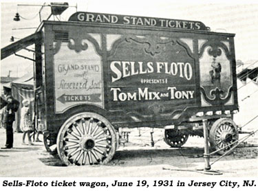 Sells-Floto ticket wagon, June 19, 1931 in Jersey City, NJ.