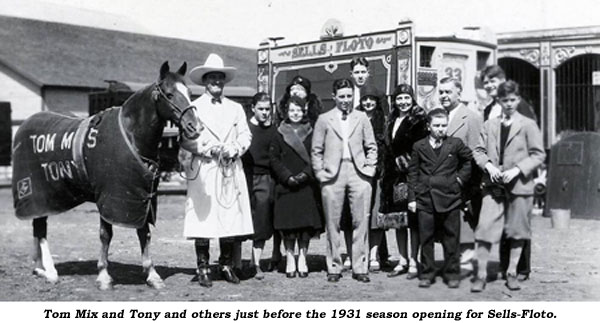 Tom Mix and Tony and others just before the 1931 season opening for Sells-Floto.