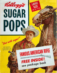 Kellogg's Suger Pops box with Guy Madison as Wild Bill Hickok pictured on it.