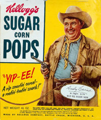 Kellogg's Suger Pops box with Andy Devine as Jingles pictured on it.