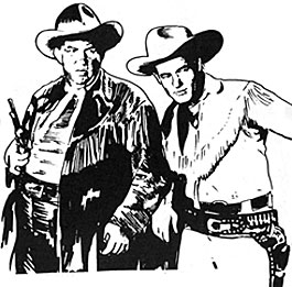 Art spot by Bobb Lynes of Guy Madison and Andy Devine as Jingles.