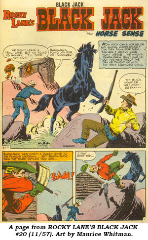 A page from ROCY LANE'S BLACK JACK #20 (11/57). Art by Maurice Whitman.