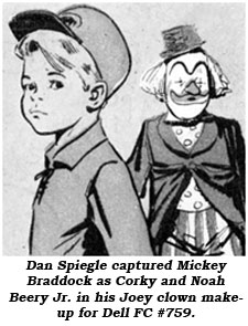 Dan Spiegle captured Mickey Braddock as Corky and Noah Beery Jr. in his Joey clown makeup for Dell FC #759.