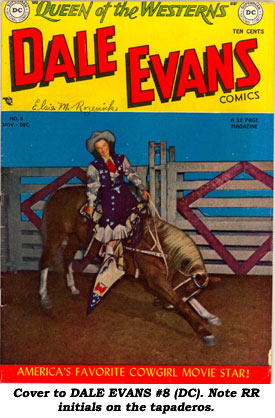 Cover to DALE EVANS #8 (DC). Note RR initials on the tapaderos.