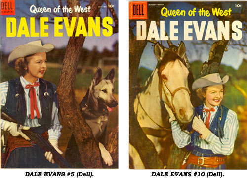 Covers to Dell's DALE EVANS COMICS #5 and #10.