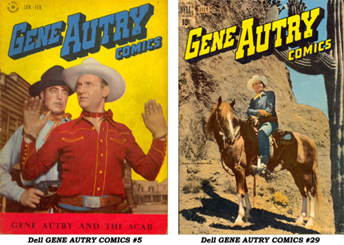 Covers to Dell GENE AUTRY COMICS #5 and #29.