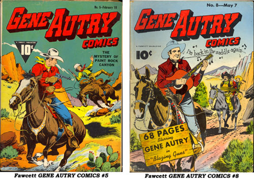 Covers to Fawcett GENE AUTRY COMICS #5 and #8.