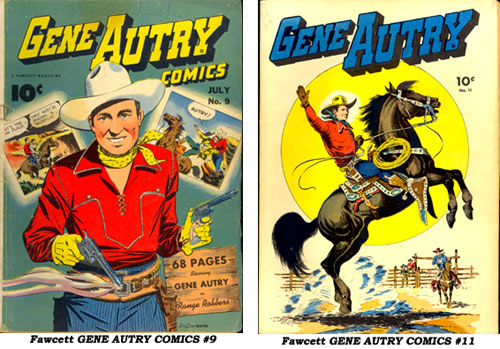 Covers to Fawcett GENE AUTRY COMICS #9 and #11.