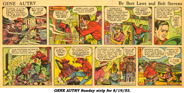 """Gene Autry"" Sunday strip for 8/19/53."