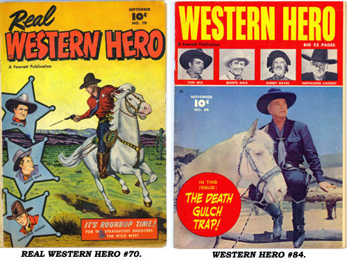Covers to REAL WESTERN HERO #70 and WESTERN HERO #84.