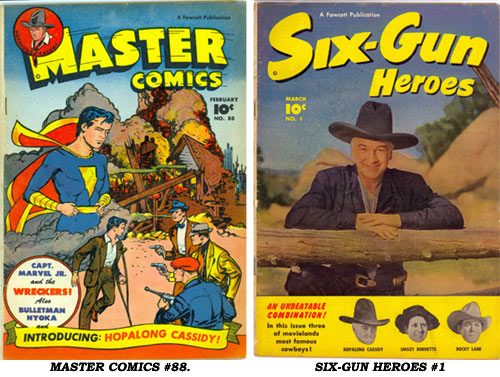 Covers to MASTER COMICS #88 and SIX-GUN HEROES #1.