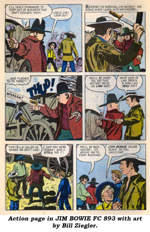 Action page in JIM BOWIE FC 893 with art by Bill Ziegler.