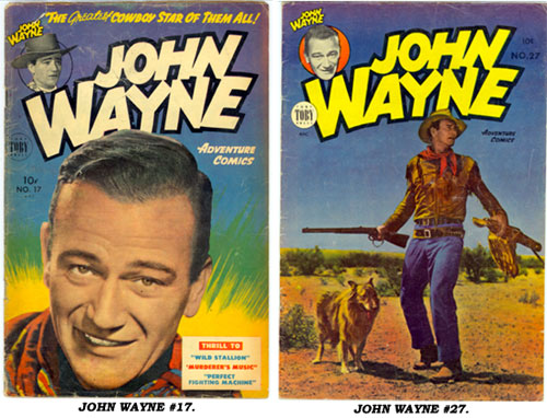 Covers to JOHN WAYNE ADVENTURE COMICS #17 AND #27.