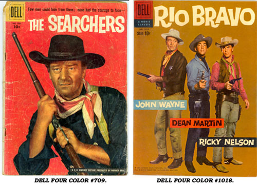 Covers to Dell Four Color #709 (The Searchers) and Dell Four Color #1018 (Rio Bravo).
