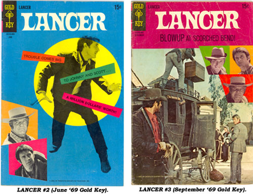 Covers to LANCER #2 (June '69 Gold Key) and LANCER #3 (September '69 Gold Key).