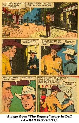"A page from ""The Deputy"" story in Dell LAWMAN FC#970 (#1)."