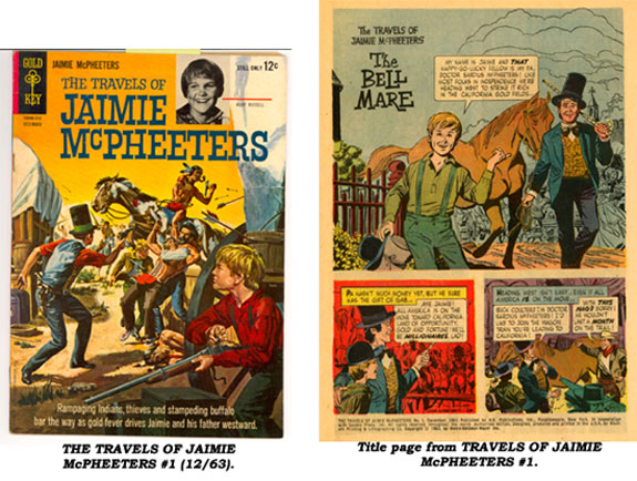 Cover and title page from THE TRAVELS OF JAIMIE McPHEETERS #1 (12/63).