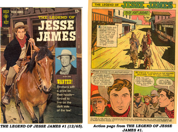Cover and action page from THE LEGEND OF JESSE JAMES #1 (12/65).