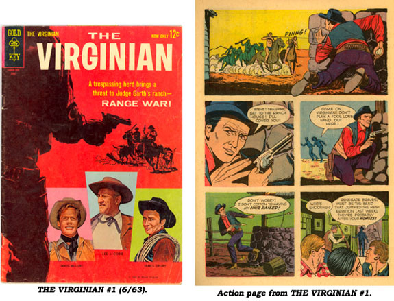 Cover and action page from THE VIRGINIAN (6/63).