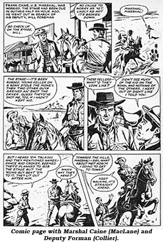 Comic page with Marshal Caine (MacLane) and Deputy Forman (Collier).