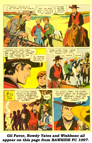 Gil Favor, Rowdy Yates and Wishbone all appear on this page from RAWHIDE FC 1097.