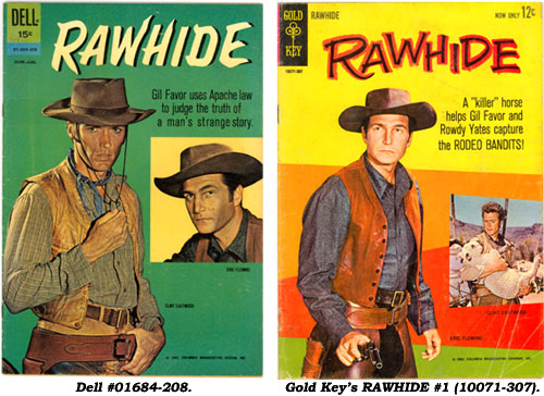 Covers to Dell's  RAWHIDE #01684-208 and Gold Key's #1 (10071-307).