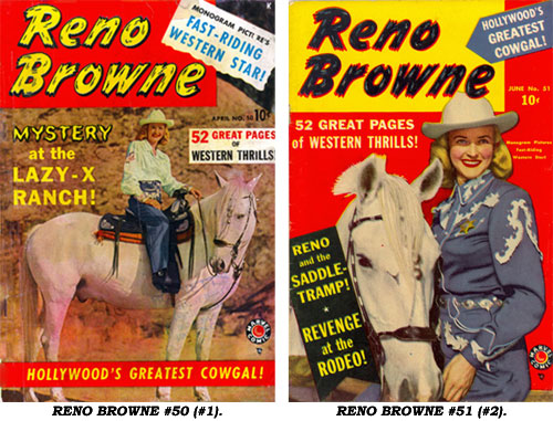 Covers to RENO BROWNE #50 (#1) and #51 (#2).