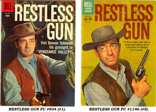 Covers to RESTLESS GUN FC #934 (#1) and FC #1146 (#5).