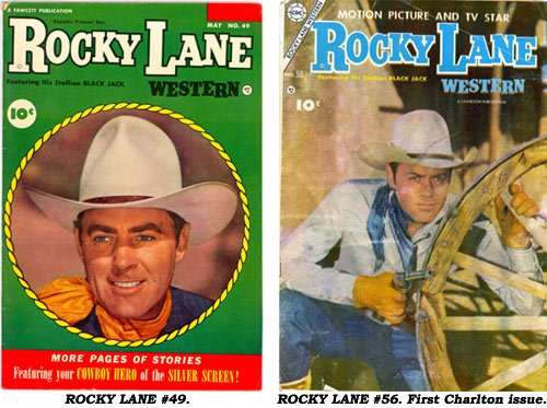 Covers to ROCKY LANE #49 and the first Charlston issue, #56.