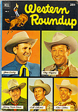 Cover to WESTERN ROUNDUP #1 with pictures of Gene Autry, Roy Rogers, Johnny Mack Brown, Bill Elliott and Rex Allen.