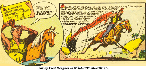 Art by Fred Meagher in STRAIGHT ARROW #1.