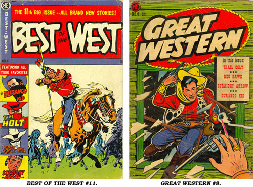 Covers to BEST OF THE WEST #11 and GREAT WESTERN #8.